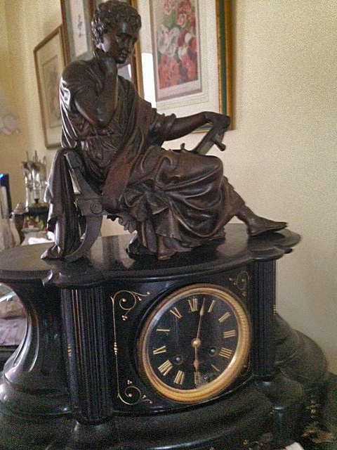 Black Mantel Clock With Bronze Statue