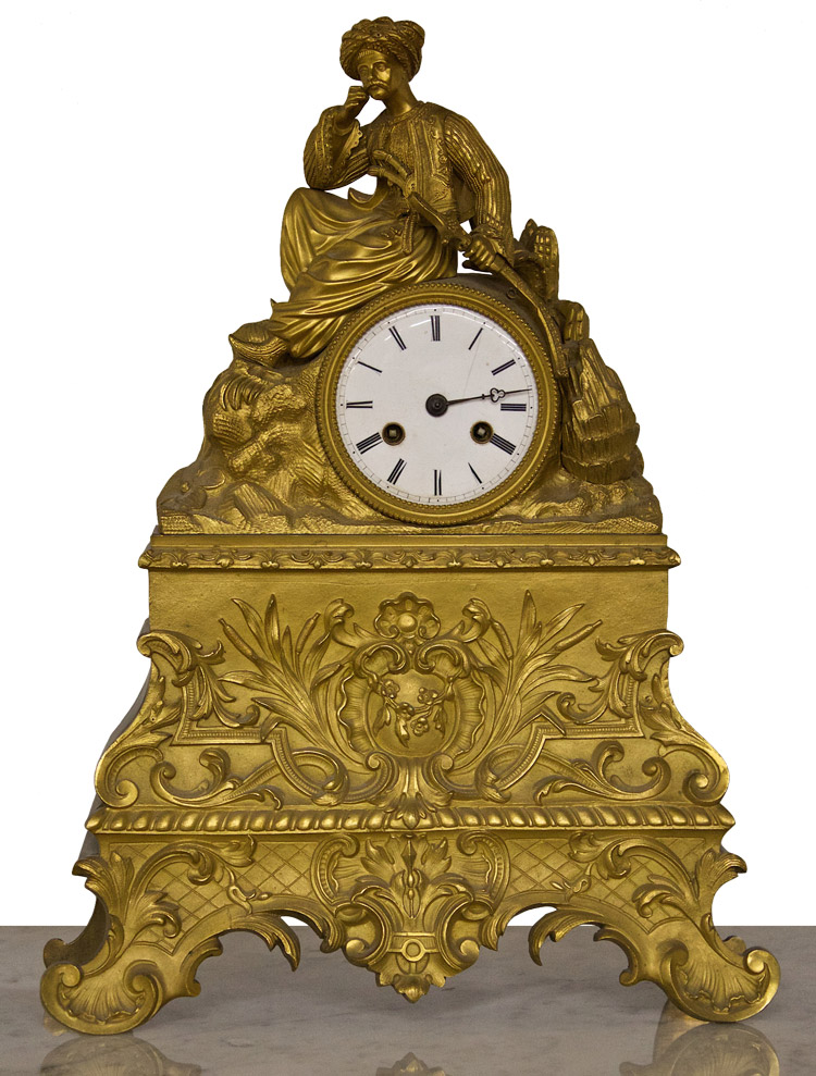 Bronze Mantel Clock, French, ca. 19th Century.