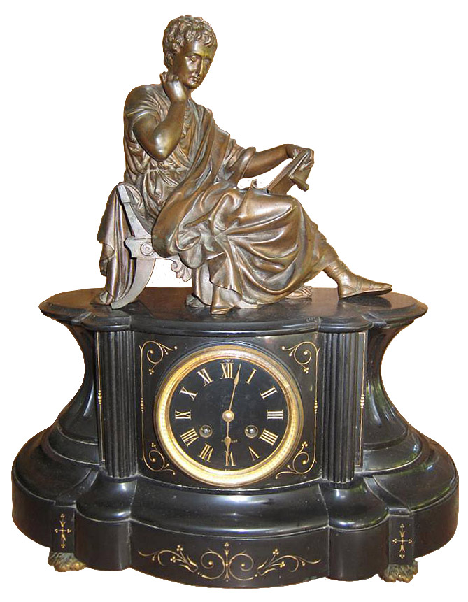 French Bronze black marble mantel clock with a patine finish, ca. late 1800´s.
