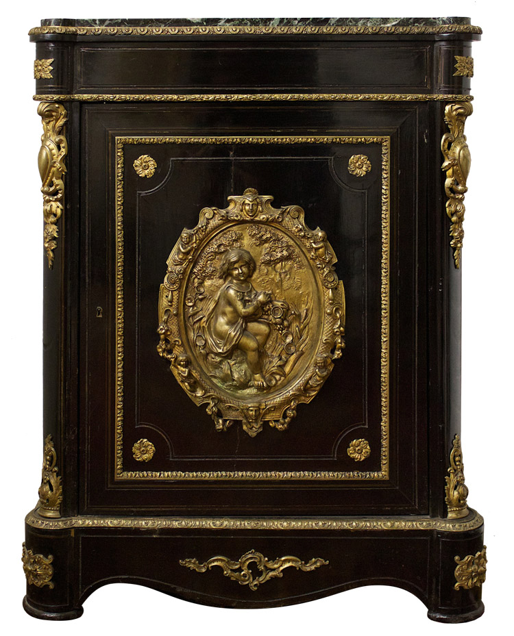 Side Cabinet In Black Lacquer/green Marble Top/bronze Doré Appliqués Note*  Crack