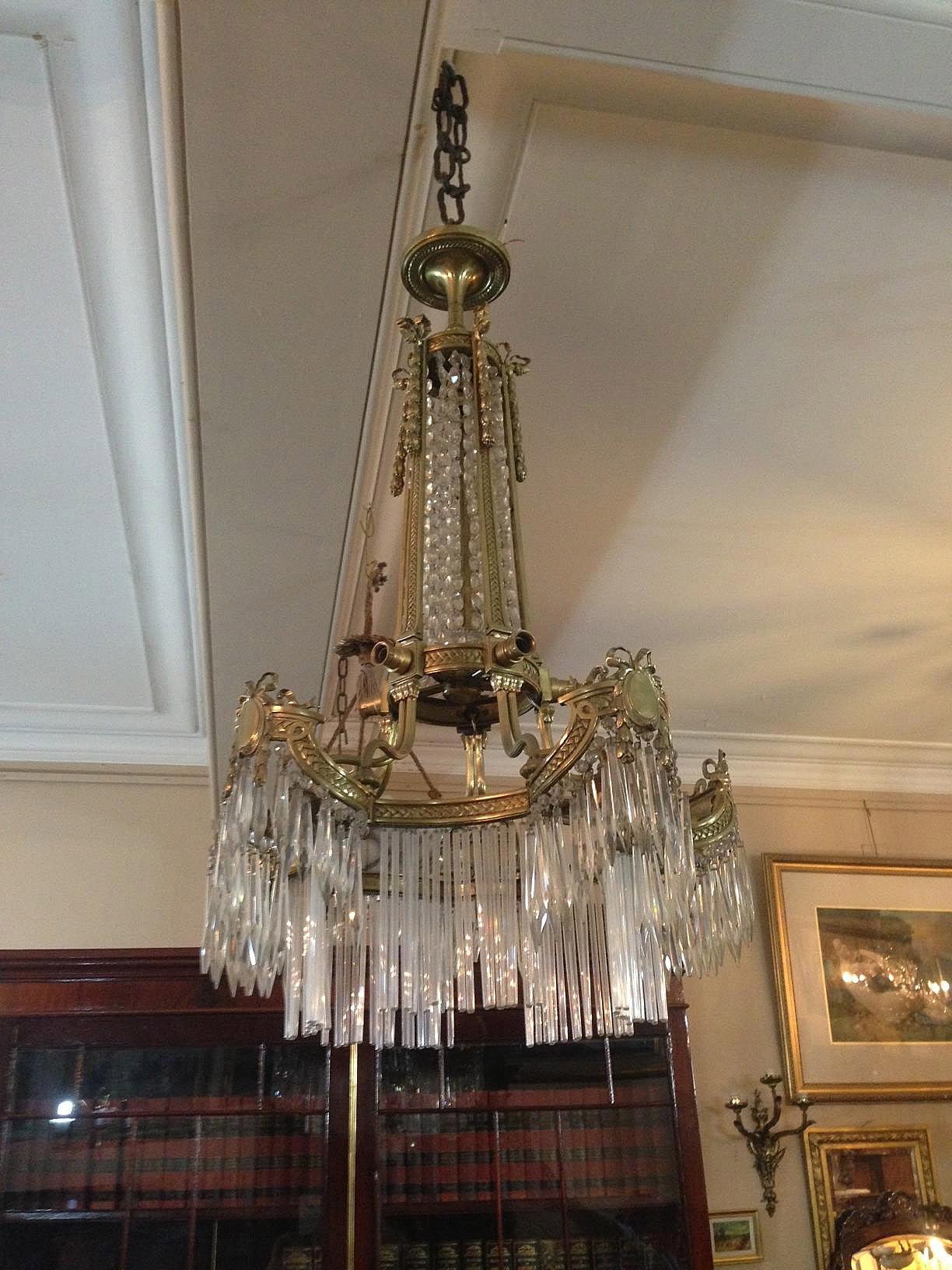Crystal Chandelier France bronze detail crystal drops