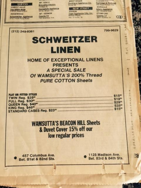1978 advertisement for Schweitzer Linen