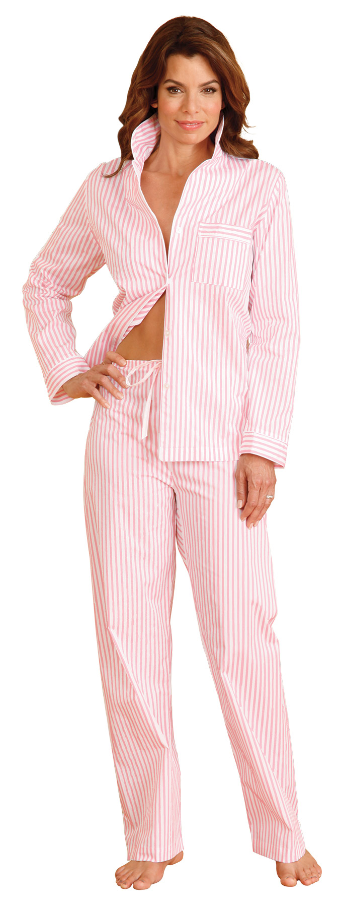 Dominique PJ's: Meticulously tailored for feminine critique, the classic shirt is detailed with piping, and straight-leg pants have elastic-waist in back, drawstring front. Imported just for you.