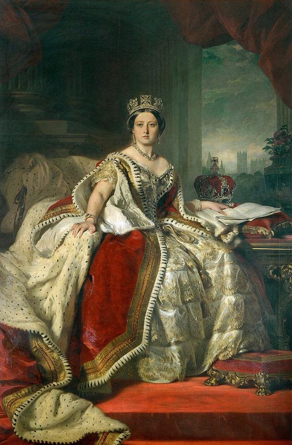 """Queen Victoria - Winterhalter 1859""  by Franz Xaver Winterhalter - The Royal Collection. Licensed under Public Domain via Commons"