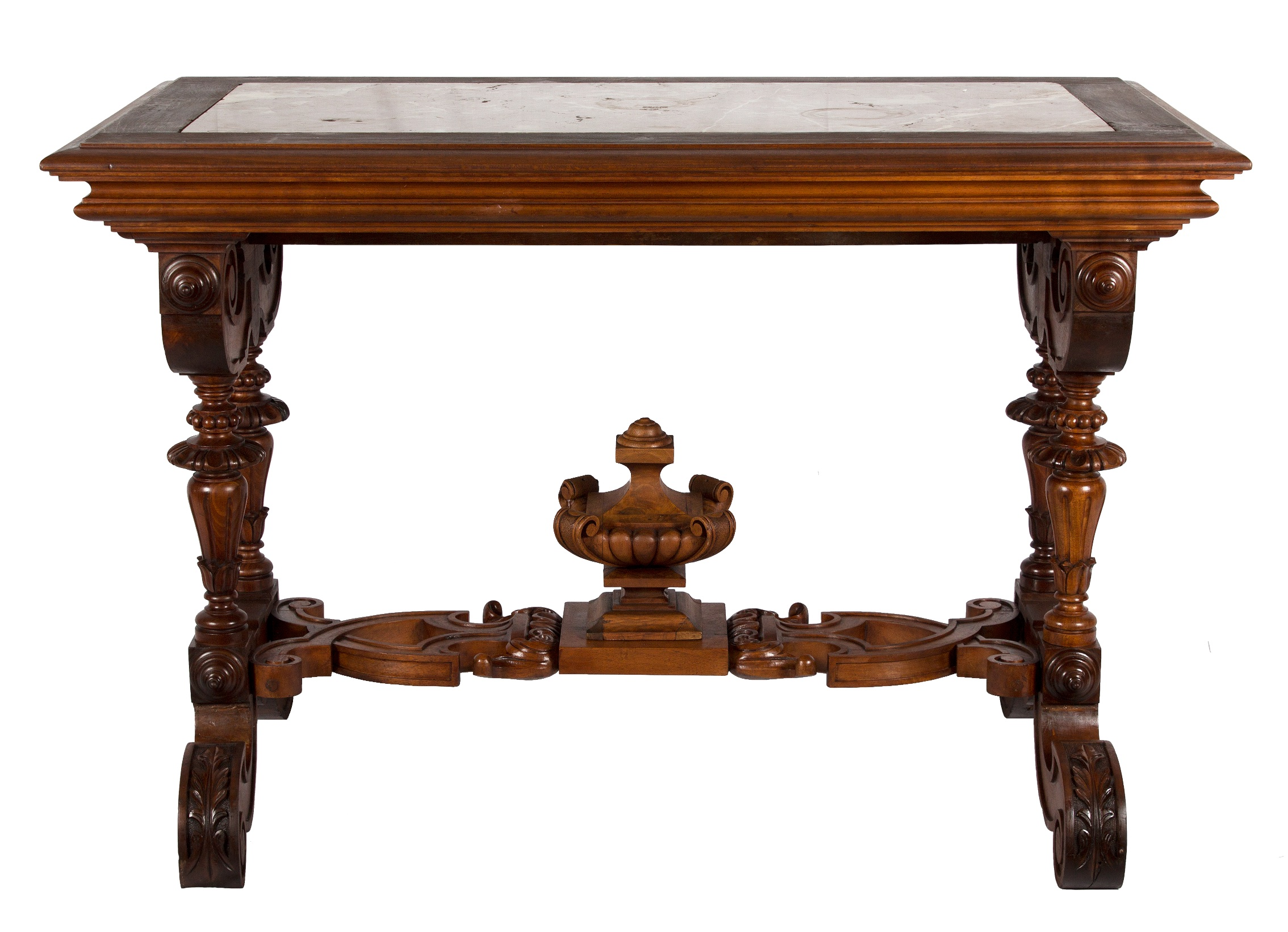 Schweitzer Linen hand carved French table with pink marble is from the late 1800's