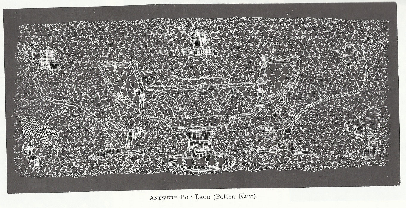"""Antwerp pot lace"" by Mrs Bury Palliser - History of Lace. Retrieved from wikimedia.org"