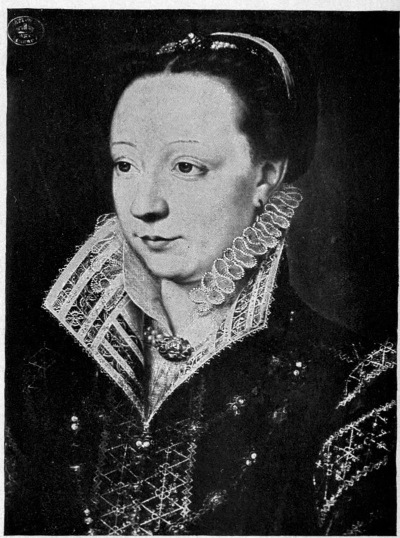 Catherine de' Medici wearing a linen upturned collar of cutwork and needlepoint lace. Louvre. About 1540 Image attributed to Encyclopedia Britannica Eleventh Edition, Vol. 16. Licensed under Public Domain via Wikimedia Commons