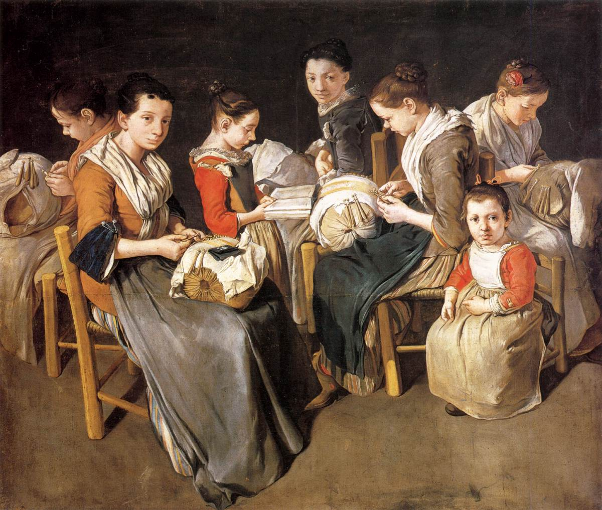 "Giacomo Ceruti depicts a family of bobbin Lace makers called ""Women Working on Pillow Lace (The Sewing School)"" 1720's"