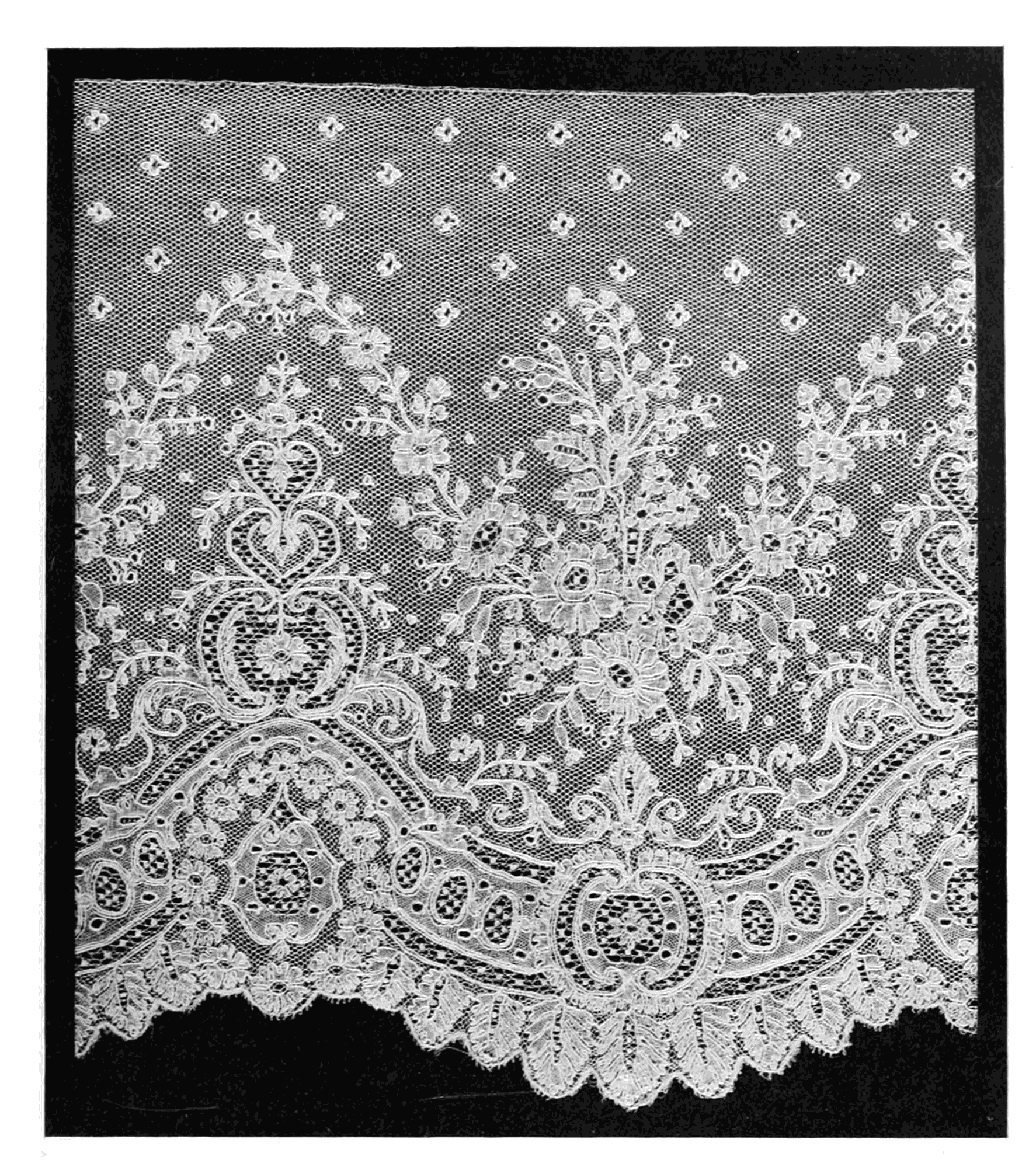 "19th century, Mechlin exclusive quality sample lace ""Lace Its Origin and History Real Mechlin"" by Samuel L. Goldenberg - Lace: Its Origin and History Retrieved from Wikimedia Commons"