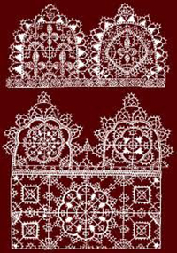 "Needlelace: Punto in aria (stitches in the air) Image retrieved from ""Renaissance Patterns for Lace, Embroidery and Needlepoint"" by Federico Vinciolo in 1587. Copyright Lynn McMasters, © 2007. https://www.lynnmcmasters.com/punto_in_aria.html"