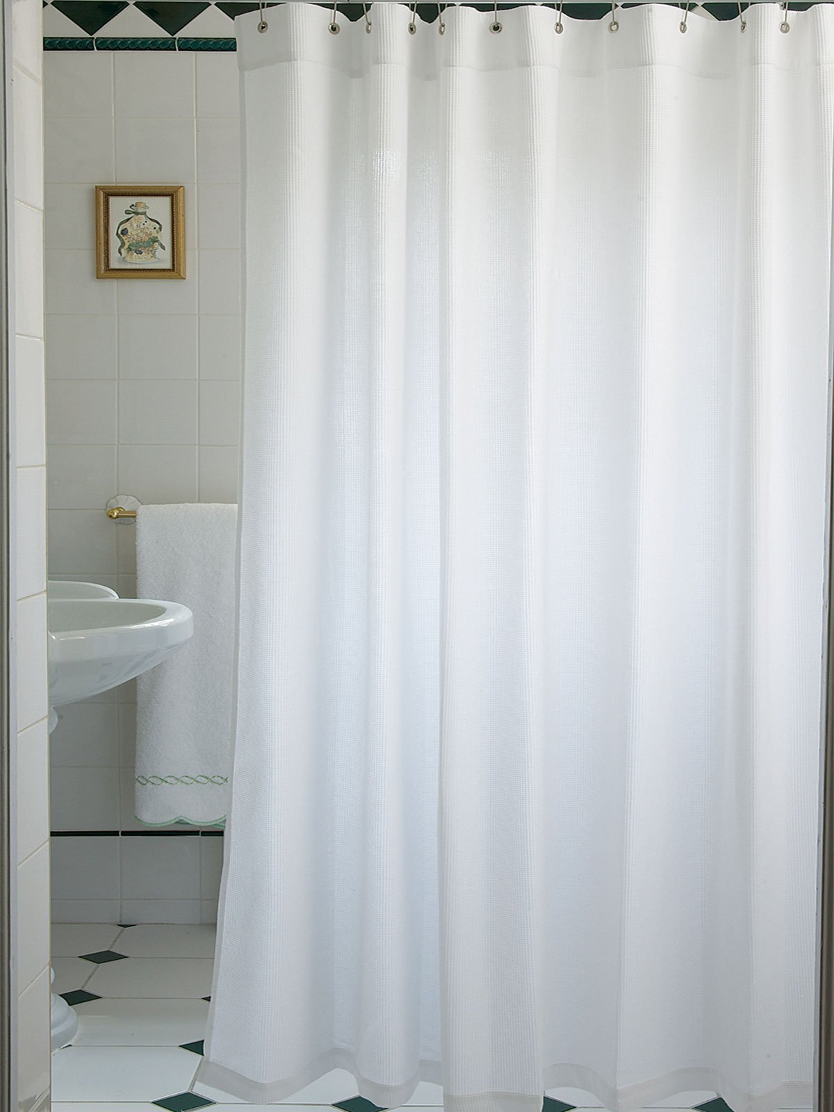 curtains hotel shower bed pdx reviews maytex border white bath curtain waffle wayfair