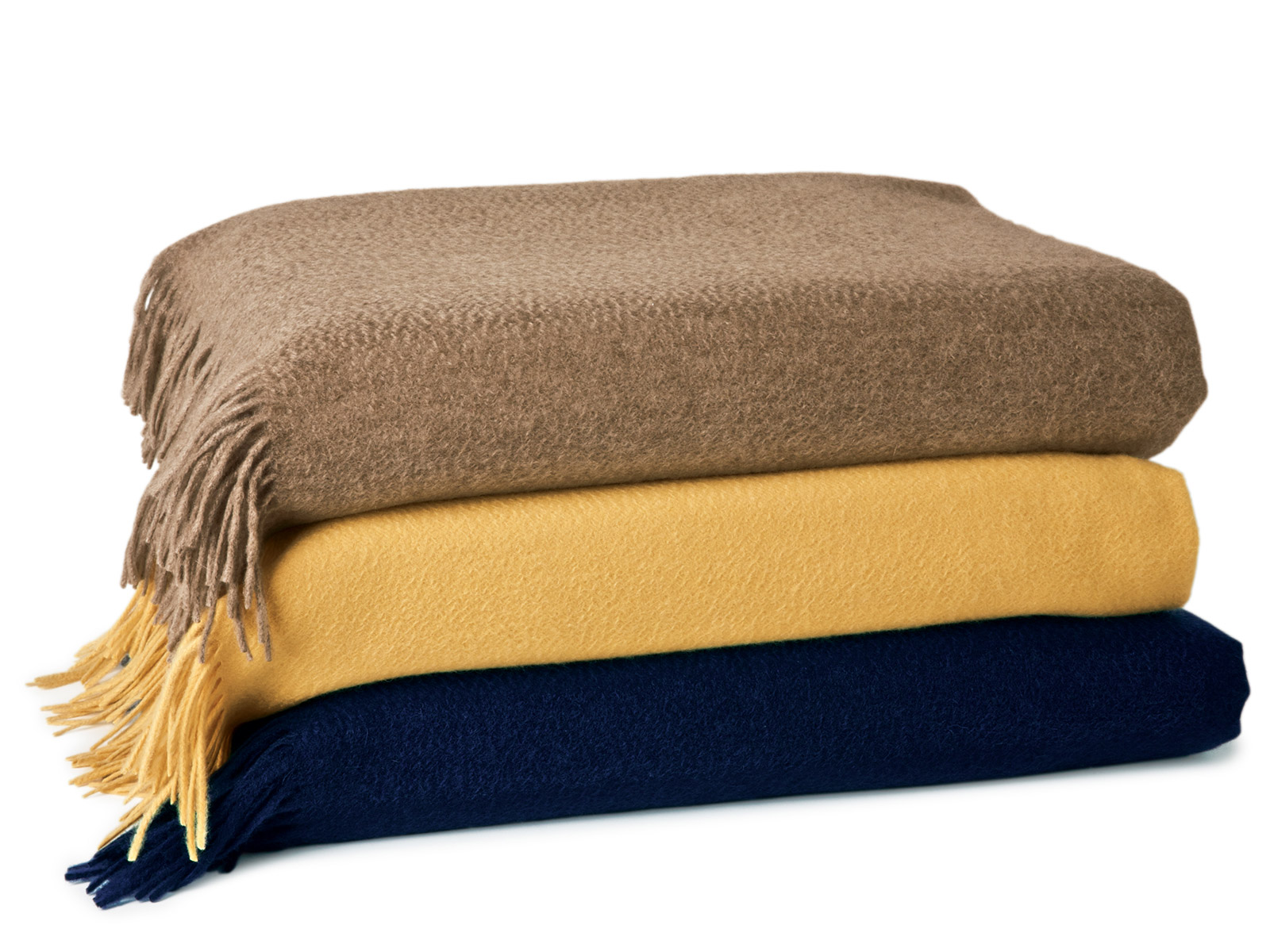 Rimini Cashmere Throw Taupe Yellow Navy