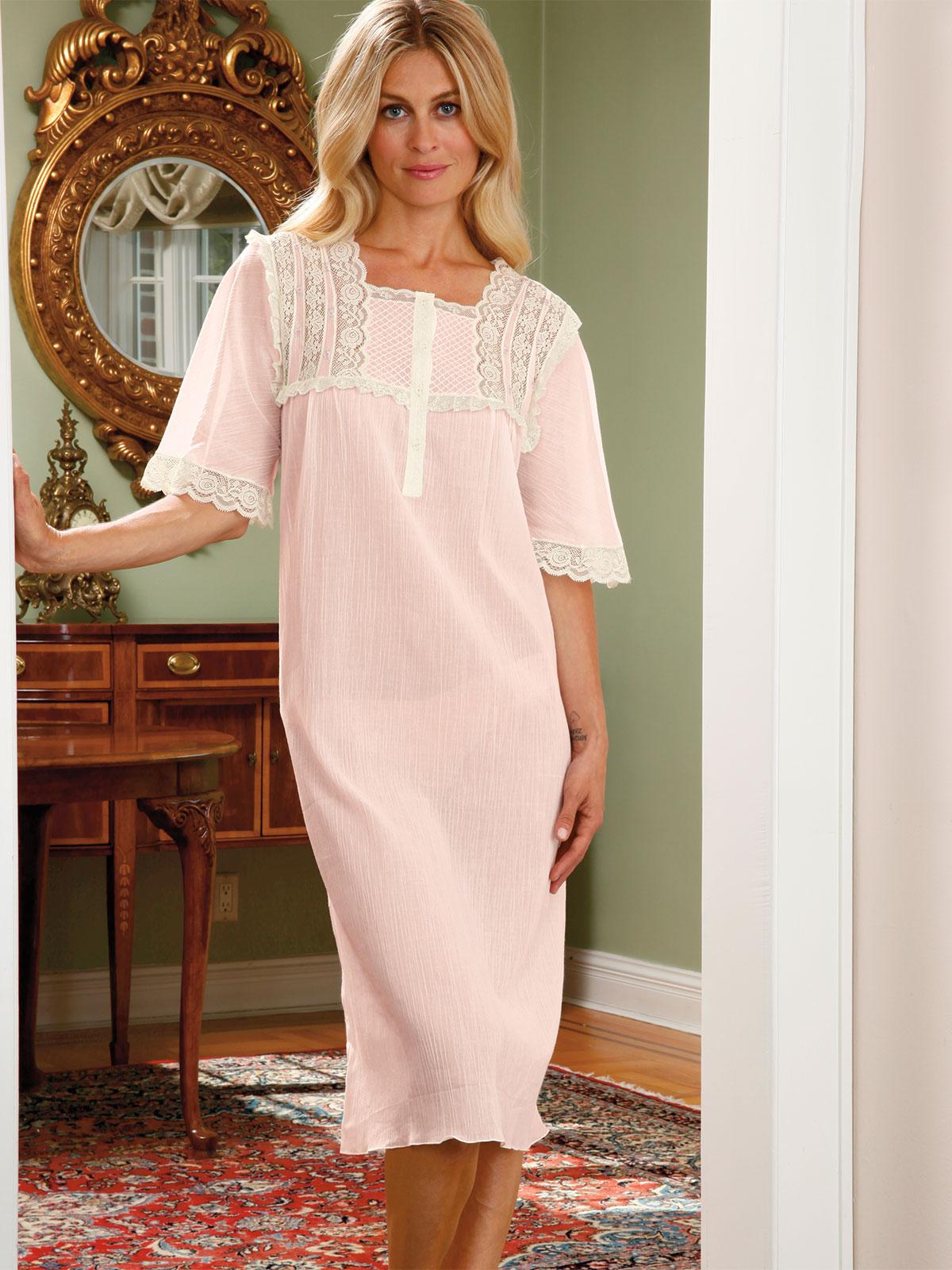 Kristina Nightgown Luxury Nightwear Schweitzer Linen