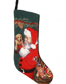 Christmas Stockings: Santa & Puppy